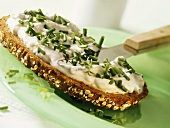 Wholemeal bread with almond and cress spread