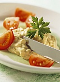 Smoked fish and quark spread with fresh tomatoes