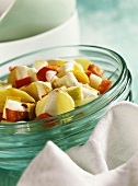 Potato and pear salad with diced peppers