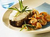 Cod cutlet with tarragon carrots