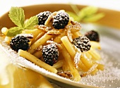 Sweet pan-cooked noodles with blackberries & slivered almonds