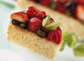 Piece of berry cake