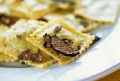 Ravioli with black truffles