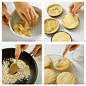 Making small apple pies with glace icing decoration