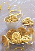 New Year pretzels with coarse sugar and New Year cookies