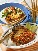 Tuna with tomato sauce, swordfish with melon salsa