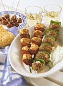 Grilled mince kebabs and turkey kebab with onions