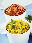 Saffron rice with peas, spicy tomato rice