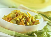 Vegetables and baby corncobs in curried yoghurt sauce
