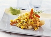 Pan-cooked rice dish with sweetcorn and shrimps