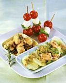 Mushrooms, tomato & mozzarella on sticks, tuna salad