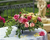 Arrangement of roses in a bowl