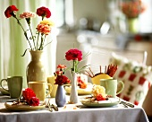 Carnations in vases as table decorations