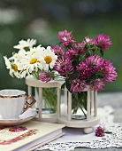 Daisies and clover as table decoration