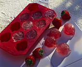 Making strawberry ice cubes
