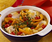 Vegetable bake with eggs and cherry tomatoes