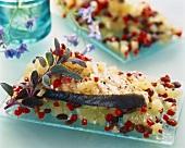 Halibut fillet on lemons and dried raisins