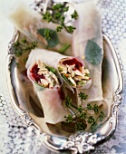 Steamed spring roll in rice paper with chicken & vegetables