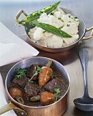 Boeuf bourguignon (beef in red wine sauce with turnips)