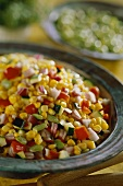Sweetcorn salad with courgettes and onions