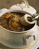 Pearl barley, soup vegetables and beef bouillon