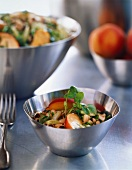 Bean salad with leeks and peach