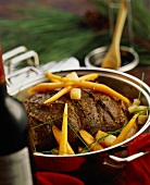 Roast beef with carrots