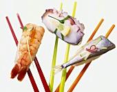Ebi-nigiri (shrimp), ika-nigiri (cuttlefish)& saba-nigiri (fish