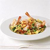 Saffron pilaw with vegetables and shrimps