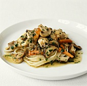 Ribbon pasta with chicken and mushroom ragout