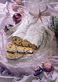 Dresden stollen, pieces cut, on wrapping paper