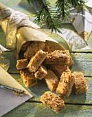 Sweet nut bars in Christmassy gift bag