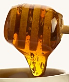 Honey running from a honey dipper (close-up)