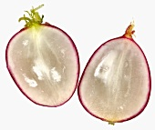 Two thin slices of radish (close-up)