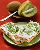 Crispbread with herb quark, kiwi fruits in background