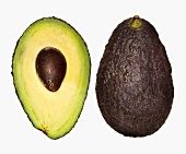 One half and whole avocado, 'Hass' variety