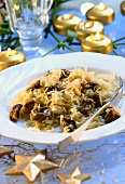 White cabbage salad with mushrooms
