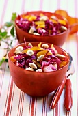 Red cabbage salad with peanuts and apples