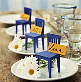 Place-cards on plates