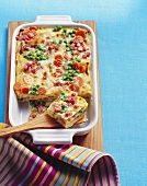Vegetable lasagne with diced bacon