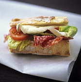 Salami, Camembert, tomato and lettuce in a sandwich