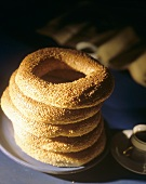 Sesame rings in a pile
