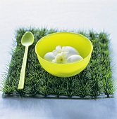 Eggs with flowers in a plastic bowl on artificial grass