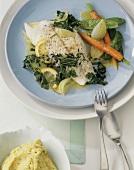 Zander fillet with spring vegetables in saffron butter