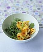 Chicken & rocket salad with saffron & coriander dressing