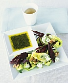 Lettuce with beetroot, sheep's cheese and dill oil dip