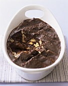 Chocolate pudding with brioche in a baking dish (Aga Cooking)