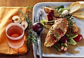 Roast chicken breast with plums