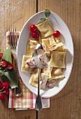 Sweet ravioli with sabayon