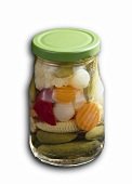 Mixed pickles in jar